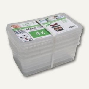 Aufbewahrungsbox/Schuhbox, 390 x 265 x 140 mm, 11 Liter, PP, transparent, 3 St.,