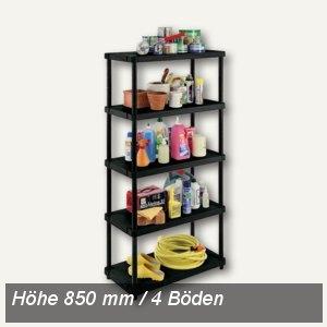 OKT Kunststoff-Regal, 4 Einlegeböden, Höhe: 850 mm, PP, schwarz, 1002580000000