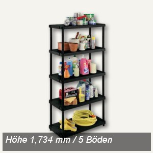 OKT Kunststoff-Regal, 5 Einlegeböden, Höhe: 1.734 mm, PP, schwarz, 1002480000000