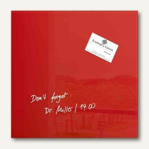 """Sigel Glas-Magnettafel """"artverum"""", 300 x 300 mm, 2 Magnete, rot, GL159"""