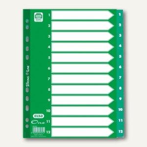 Elba Register One, DIN A4, 12-teilig, Zahlen 1-12, 120my, grün, 400010207