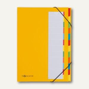 Pagna Ordnungsmappe Deskorganizer, 12 Fächer, Karton, gelb, 44133-05