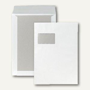 Papprückwandtaschen, DIN C4, haftklebend, Fenster, 120g, weiß, 100 Stück, 21750