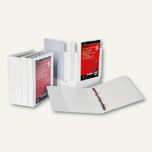 Präsentationsringbuch, A4, Rücken 90 mm, 4 Ringe, 4 Taschen, weiß, 12345678