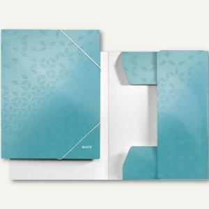 LEITZ Eckspannermappe WOW, DIN A4, Karton, 250 Blatt, eisblau, 3982-00-51