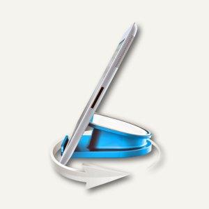 LEITZ Tischständer für iPad/Tablet PC WOW, drehbar, blau-metallic, 6274-10-36