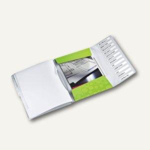 Ordnungsmappe WOW, DIN A4, 12 Fächer mit Taben, PP, grün-metallic, 4634-00-64