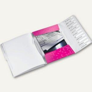 Ordnungsmappe WOW, DIN A4, 12 Fächer mit Taben, PP, pink-metallic, 4634-00-23