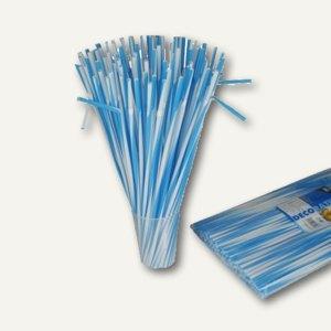 Papstar Trinkhalme flexibel, Ø 6 mm, 40 cm lang, weiß-blau, 2.250 Stück, 81186
