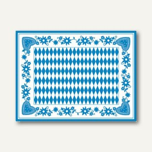 """Tischsets """"Bayrisch Blau"""", Airlaid, 30 x 40 cm, blau-weiß, 600er-Pack, 84492"""