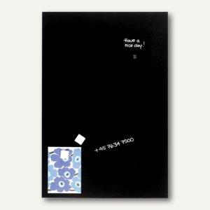 Magnetische Glastafel, Rechteck, 50 x 100 cm, 2 Magnete, schwarz, GT5010010