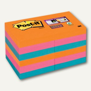 Post-it Super Sticky Notes, 51 x 51 mm, neon sortiert, 12 St., 62212SE