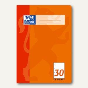 Oxford Heft, DIN A4, Lin. 30 - blanko, perforiert, gelocht, 16 Blatt, 100050316