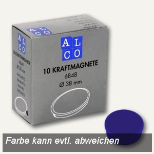 Alco Kraftmagnet rund, Ø38 mm, 2.5 kg, 13.5 mm hoch, blau, 10 Stück, 6848V15