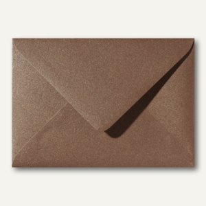 Farbiger Briefumschlag Metallic, 110x156mm, nasskl., ohne Fenster, braun, 500St