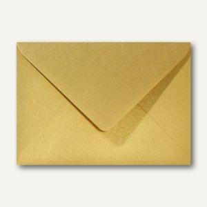 Farbiger Briefumschlag Metallic, 110x156mm, nasskl., ohne Fenster, gold, 500St.