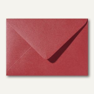 Farbiger Briefumschlag Metallic, 110x156mm, nasskl., ohne Fenster, dunkelrot, 50