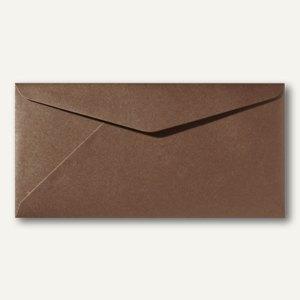 Farbiger Briefumschlag Metallic DL, 110x220mm, nasskl., ohne Fenster, braun, 500