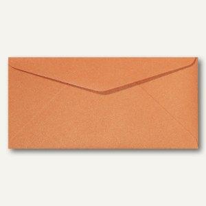 Farbiger Briefumschlag Metallic DL, 110x220mm, nasskl., ohne Fenster, orange, 50