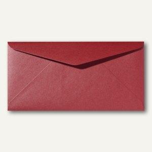 Farbiger Briefumschlag Metallic DL, 110x220mm, nasskl., ohne Fenster, dunkelrot,