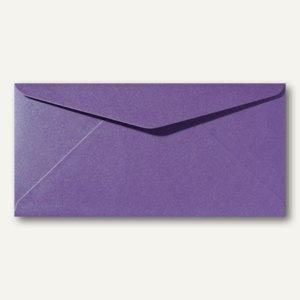 Farbiger Briefumschlag Metallic DL, 110x220mm, nasskl., ohne Fenster, violett, 5