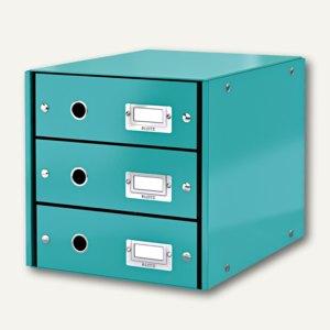LEITZ Schubladenbox Click & Store WOW, 3 Schübe, DIN A4, eisblau, 6048-00-51