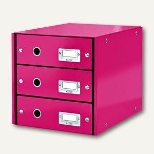 LEITZ Schubladenbox Click & Store WOW, 3 Schübe, DIN A4, pink, 6048-00-23