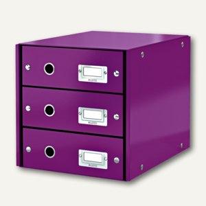 LEITZ Schubladenbox Click & Store WOW, 3 Schübe, DIN A4, violett, 6048-00-62