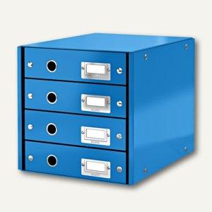 LEITZ Schubladenbox Click & Store WOW, 4 Schübe, DIN A4, blau, 6049-00-36