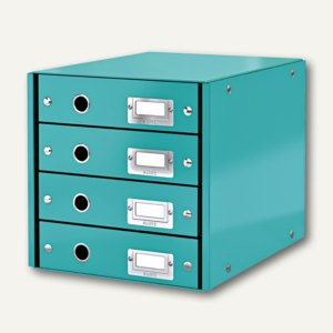 LEITZ Schubladenbox Click & Store WOW, 4 Schübe, DIN A4, eisblau, 6049-00-51