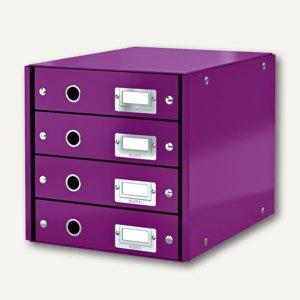 LEITZ Schubladenbox Click & Store WOW, 4 Schübe, DIN A4, violett, 6049-00-62