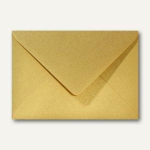 Farbiger Briefumschlag Metallic, 156x220 mm, nasskl., ohne Fenster, gold, 500St.