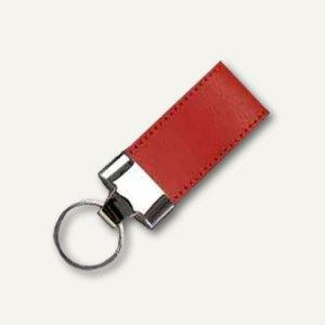 Alassio Schlüsselanhänger, Leder, inkl. Schlüsselring, 35 x 110 mm, rot, 43209