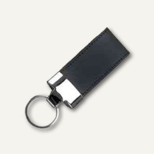 Schlüsselanhänger, Leder, inkl. Schlüsselring, 35 x 110 mm, schwarz, 43207