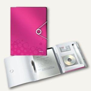 Schreibmappe WOW, DINA4, 4 Hüllen, Schreibblock, PP, pink-metallic, 4636-00-23