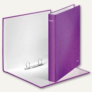 LEITZ Ringbuch WOW - DIN A4, Hartpappe, Rücken: 40mm, violett, 4241-00-62