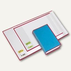 Buchhüllen mit Lasche rot, 290 x 540 mm, PP-Folie, glasklar, 10 St., 1500290