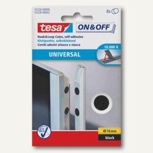 """Tesa Klettpunkte """"On & Off"""", Ø 16 mm, schwarz, 8 Paare, 55226s"""