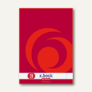 Herlitz Schulblock x.book DIN A4, kariert, 4-fach gelocht, 50 Blatt, 216283