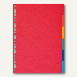 Exacompta Kartonregister, DIN A4, 6-teilig, 220 g/m², farbige Tabs, rot, 2006E