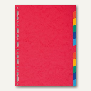 Exacompta Kartonregister, DIN A4, 12-teilig, 220 g/m², farbige Tabs, rot, 2012E