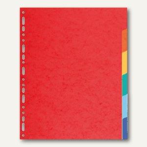 Exacompta Kartonregister, DIN A4+, 6-teilig, 220 g/m², farbige Tabs, rot, 2106E