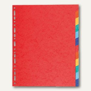 Exacompta Kartonregister, DIN A4+, 12-teilig, 220 g/m², farbige Tabs, rot, 2112E