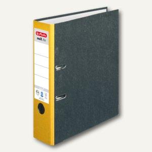 Herlitz Ordner maX.file nature 80 mm breit, Wolkenmarmor, gelber Rücken, 5171103