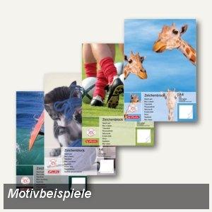 Herlitz Zeichenblock, DIN A4, 100 g/qm, kopfgeleimt, 25 Blatt, 495408