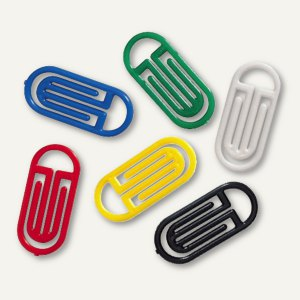Kunststoff-Büroklammern Bogen King Klips, 50/62mm, farbig, 100 Stück, 1334-95