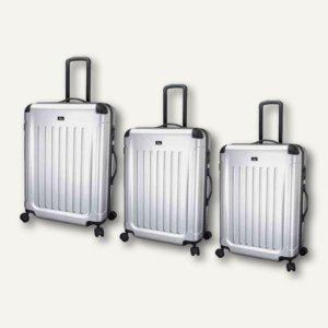 JSA Reisetrolley-Set, 3 verschiedene Größen, silber matt, 3er-Set, 45570