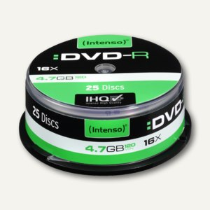Intenso DVD-R Rohlinge, 4.7 GB, 16x Speed, 25er Spindel, 4101154