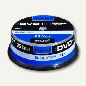 Intenso DVD+R DL Rohlinge, 8.5 GB, 8x Speed, 25er Spindel, 4311144