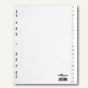 Durable Buchstabenregister A-Z, A4, 20-tlg., PP, Universallochung, weiß, 616802